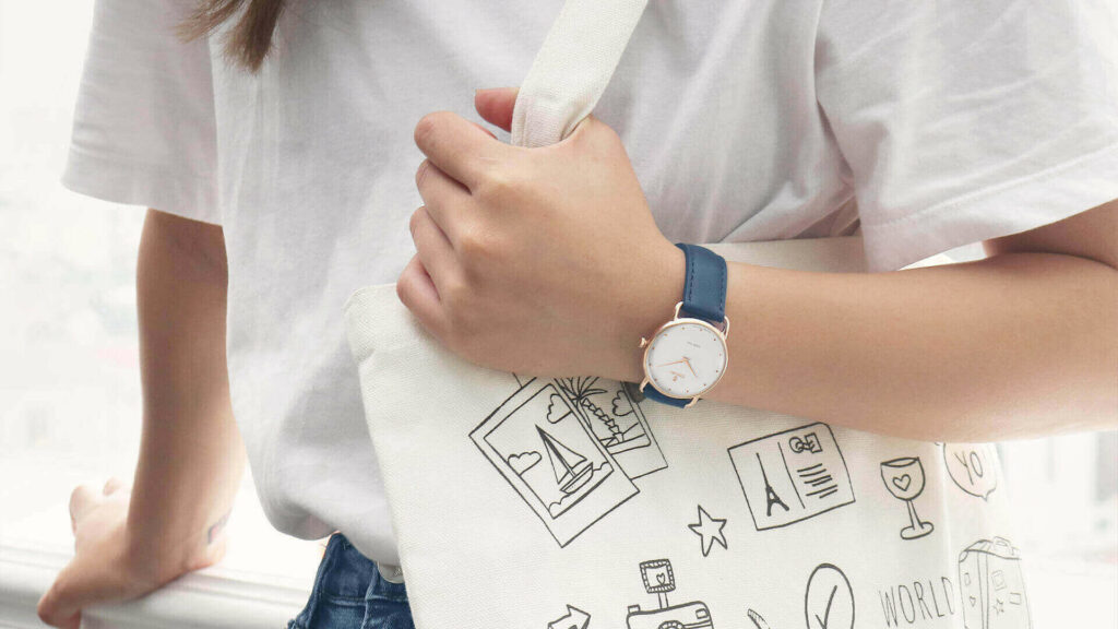 Simple shorts and t-shirt outfit and women's leather strap watches