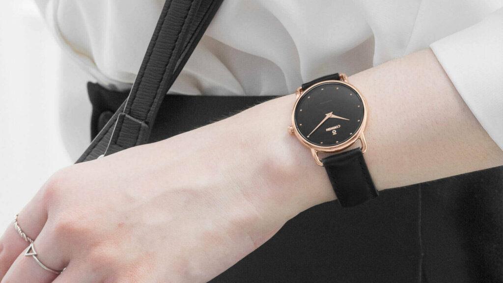 Pants outfit and white shirt with women's leather strap watches