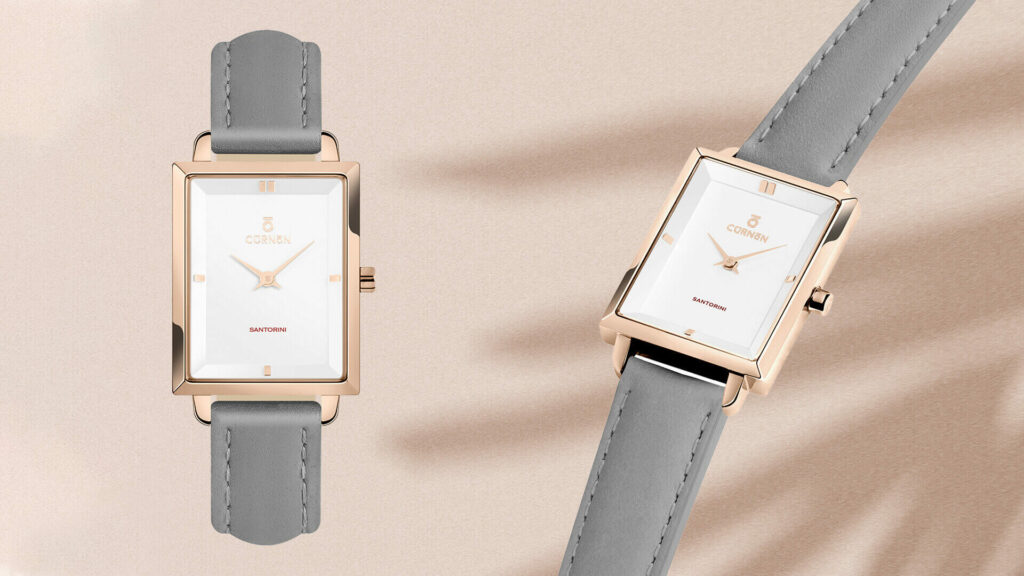 Nổi bật với đồng hồ dây da nữ mặt chữ nhật Curnon Santorini